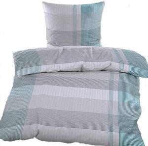 Seersucker Bettwäsche, 135 x 200 +80x80 cm, bügelfrei, grau grün weiß Karo, Microfaser + Waschhandschuh