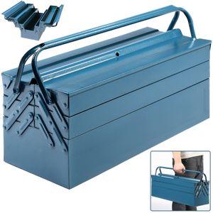 Deuba Werkzeugkoffer leer groß Stahl 5-teilig Werkzeugkasten Werkzeugbox Werkzeugkiste Werkzeug Montage Koffer blau 530x200x200mm