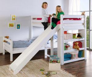 Etagenbett mit Rutsche BENI L Kinderbett Spielbett Bett Weiß, Matratzen oben/unten:ohne
