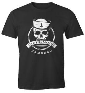 Herren T-Shirt Totenkopf Matrose Anker Motiv Skull Emblem Schriftzug Moin Moin Hamburg Fun-Shirt Spruch Moonworks® anthrazit XXL