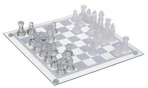 Glas Schachspiel 20 x 20cm mit 32 Schach Figuren | Schachbrett | Schachset