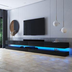 Selsey TV-Lowboard HYLIA DOUBLE Schwarz Matt/ Schwarz Hochglanz mit LED-Beleuchtung 2x140 cm breit