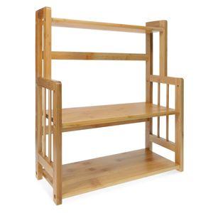 Navaris Gewürzregal mit 3 Etagen aus Bambus - Küchenregal Holz Gewürz Schrank Regal für Gewürze - vielseitiger Organizer für Küche Bad Büro