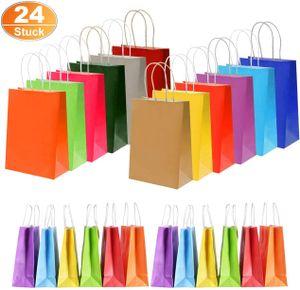 24 Stück Papier Geschenktüten Bunt Papiertüten Kraftpapier Candy Tüten Partytüten 22x8x16 cm mit Henkel Ideal fur Kindergeburtstag, Babyparty, Hochzeit, Weihnachten (A)