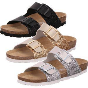 Rohde 5592 Alba Damen Schuhe Pantoletten Clogs Glitzer, Größe:38 EU, Farbe:Silber
