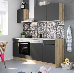 Küchenblock Noah 210 cm mit Einbauspüle ohne Elektrogeräte in anthrazit matt (Geschirrspüler geeignet)