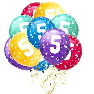 Oblique Unique Luftballon Set Zahl 5 für 5. Geburtstag Kindergeburtstag Party 10 Deko Ballons Geburtstagsdeko bunt