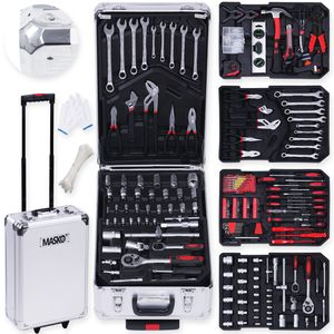 Masko® 969 tlg Werkzeugkoffer Werkzeugkasten Werkzeugkiste Werkzeug Trolley ✔ Profi ✔ 949 Teile ✔ Qualitätswerkzeug , Farbe:Silber