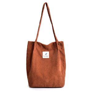 Damen Cord Shopper Tasche in Braun, Große Umhängetasche, Schultertasche, Handtasche, Tragetasche - Braun