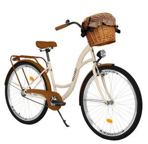 Milord Komfort Fahrrad Mit Weidenkorb Damenfahrrad, 26 Zoll, Braun, 3 Gang Shimano