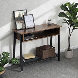 VASAGLE Konsolentisch mit Gitterablage Holzoptik 100 x 80 x 35 cm stabile Konsole Flurtisch einfache Montage Vintage LNT93X