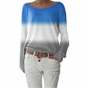Damen Gradient Langarm T-Shirt Loose Casual Sweatshirt Top,Farbe: blau,Größe:L
