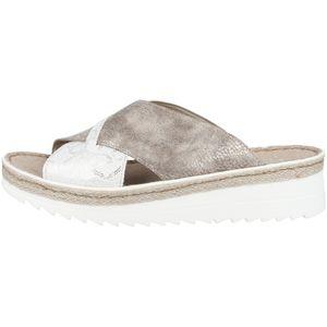Rieker V3281-80 Schuhe Damen Plateau Keil Pantoletten Sandalen weiß silber bronze, Größe:42 EU