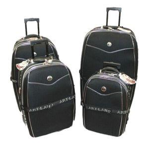 5 tlg Reisekoffer Set schwarz / Koffer erweiterbar Beauty Case 81 71 61 51 cm Bügelgriff Kofferset Schloss Trolley doppelte Rollen
