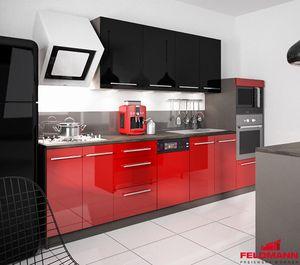 Küchenzeile Küchenblock 295cm lava / rosenrot + schwarz Hochglanz Neu