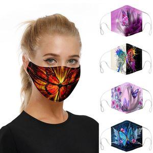 5 Stück Waschbare Schmetterling Gesichtsmasken Frauen Baumwolle Mundmaske Schutz für Erwachsene