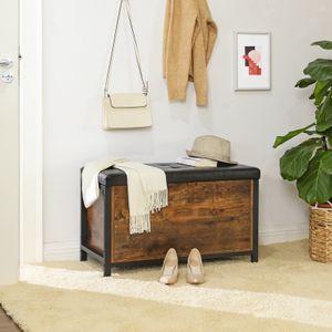 VASAGLE Sitzbank mit Stauraum |  gepolsterte Truhe | schwarzes Kunstleder | Metall einfacher Aufbau Industrie-Design Vintage dunkelbraun LSC80BX