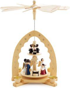 BRUBAKER 2-stöckige Weihnachtspyramide aus Holz - 30 cm - Krippenszene mit Jesuskind Maria und Josef, Engeln und Sternsingern