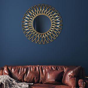 WOMO-DESIGN Dekorative Wandspiegel Sonne Lima Ø 84 cm aus Glas, Metallrahmen Gold, Runder Sonnenspiegel, Moderner Dekospiegel, Design Hängespiegel, Wandbehang Flurspiegel Schminkspiegel Spiegel