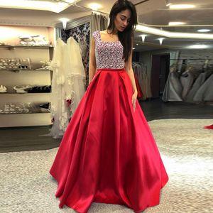 Damen Satin Perlen Abendparty Kleid Pailletten Formal Prom Langes Kleid Größe:M,Farbe:Rot