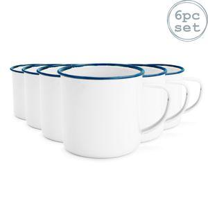 Rink weißen Emaille-Kaffee / Teetassen Drink - 240ml - Blau-Ordnung - Packung mit 6