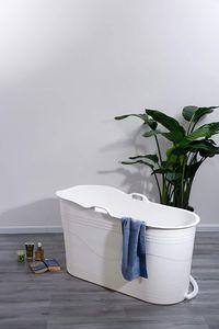 Schwänlein® Mobile Badewanne 123 x 51 x 63 cm XL, ideal für das kleine Badezimmer, stylisch und stimmungsvoll (Weiß)