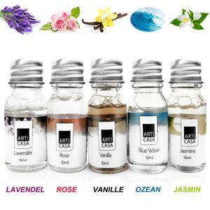 5 x 10ml Duftöl Set Ätherisches Öl Raumduft für Duftlampe Diffuser als Aroma Therapieöl Duftnoten: Lavendel - Ocean - Jasmin - Rose - Vanille