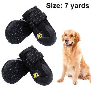 Wasserdichte Hundeschuhe, 4 Pcs Hundeschuhe Pfotenschutz, wasserdicht mit Anti-rutsch Sole passend für mittlere und große Hunde