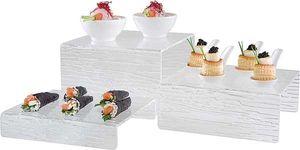 APS 3er Stufen-Display Buffetständer aus Acryl mit Oberflächenstruktur Breite: 20 cm Tiefen:18/20/22 cm, Höhen: 4/8/12