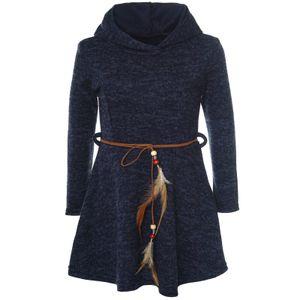 BEZLIT Mädchen Kleid mit Kapuze und Federn Gürtel Blau 140