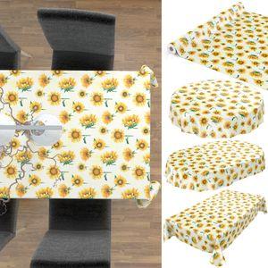 Tischdecke abwaschbar Wachstuch Sonnenblumen Gelb Oval 140x200 cm