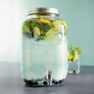 4 Liter Getränkespender mit Zapfhahn 14,5x14,5xH26cm Glas