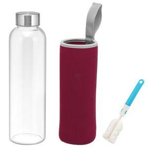 bremermann Glasflasche mit Schutzhülle 550 ml Trinkflasche, inkl. Reinigungsbürste (Berry)