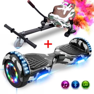 GeekMe Elektro Scooter 6,5 Zoll Hoverboard mit hoverkart, mit Bluetooth 700W Dual Motor, LED-Leuchten, E-Skateboard Elektroroller Hoverboard mit sitz Gokart