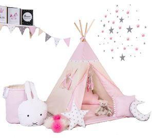Rainbow Kids Tipi Zelt für Kinder | Baumwollsegeltuch Tippi Kinderzelt mit Kissen Decke Wimpelkette und Spielzeugkorb für Outdoor- und Indoor-Kinderspaß (mit Zubehör, Kleine Königin)