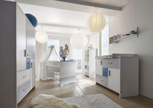 Schardt Kinderzimmer Candy Blue bestehend aus Kombi-Kinderbett (inklusive Umbauseiten), Wickelkommode mit Wickelaufsatz und 3-türigem Kleiderschrank; 118515257