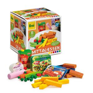 Erzi Sortierung Mittagessen, Kaufladenzubehörset, Spielset, aus Holz, Maße 12 x 12 x 6 cm, bunt