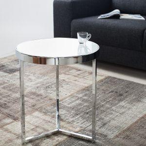 cagü: Design Art Deco Beistelltisch [DIANA] Weiß Opalglasplatte auf stylischen Dreibein-Chromgestell 50cm Höhe