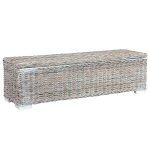 Bestseller Aufbewahrungsbox/Ablagebank/Truhenbank 120 cm Weiß Kubu-Rattan und Massivholz Mango