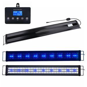 Boomersun 120-140 cm LED Aquarium Beleuchtung Lampe mit Timer Aufsatzleuchte Licht Lampe Pflanzen Weiß/Blau/Weiß+Blau