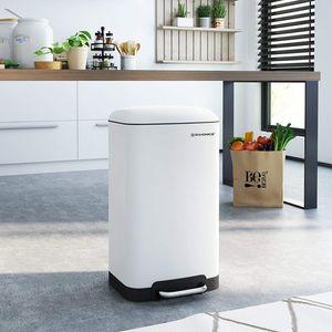 SONGMICS Mülleimer 30L Treteimer weiß Edelstahl für Küche Inneneimer Abfallbehälter Müllbehälter LTB01W