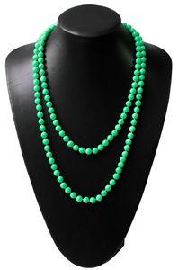 Z261 lange Perlenkette Kette Halskette Wickelkette Apfelgrün