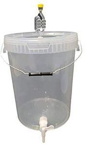 Kompletter Gärbehälter 25L - Set: Gäreimer mit Gärröhrchen und Dichtgummi und Ablaufhahn aus Kunstoff, Eimer für Bier oder Wein mit Griff, transparent