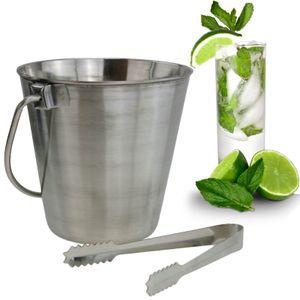 Edelstahl Eiswürfelbehälter Inkl Zange Eiseimer Eisbehälter Eiskühler Barzubehör