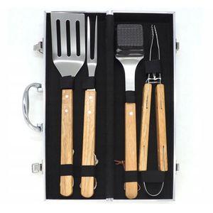 4-Teiliges Grillbesteck im Koffer Grillbesteck-Set Grillzubehör aus Edestahl und Holzgriffen Zange Reinigungsbürste Spatel Fleischgabel