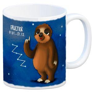 Kaffeebecher mit Sternzeichen Faultier Motiv