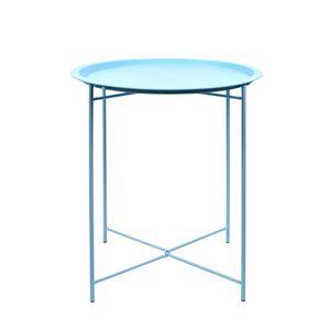 Rivanto® Blautöne Beistelltisch Ø 46 x H52 cm mit Stahlgestell, Deko Tisch, rund, für Wohnzimmer, Bad & Terasse