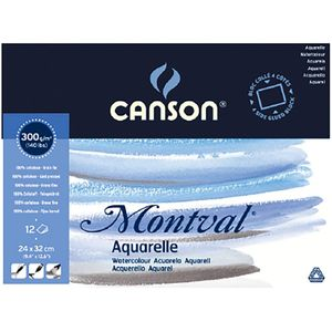 "CANSON Aquarellblock ""Montval"" rundum geleimt 240 x 320 mm 12 Blatt"