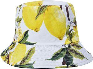 Unisex Früchte Druck Sonnenhut Strandhut Fishermütze Outdoor-Hut,Weiße Zitrone.