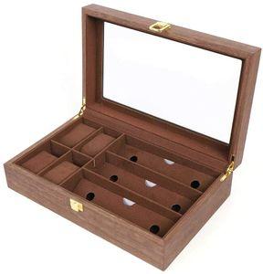 4 + 3 Slots Schmuckkasten Brillen Uhr Holz Aufbewahrungsbox  Vitrine Organizer